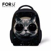 Forudesigns/принцессы Обувь для девочек Очки Cat сзади сумки Kawaii для маленьких детей рюкзак в детском саду Мини ребенок рюкзак 12 дюймов