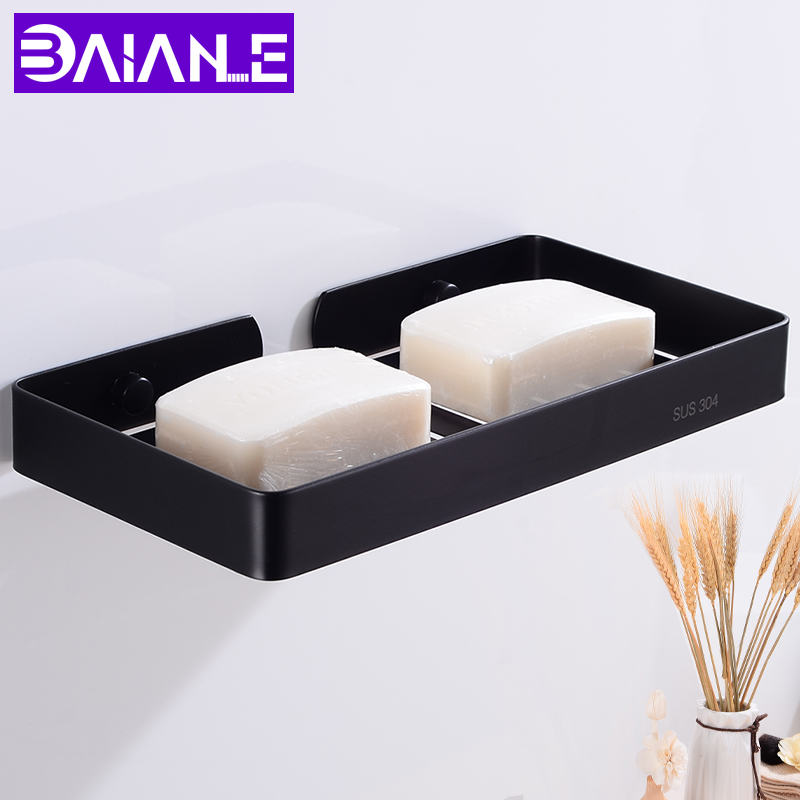 Bathroom Soap Dish Shower Soap Holder Shampoo Box Lengthen Stainless Steel Soap Rack Wall Mounted Cosmetic Storage Rack Black
