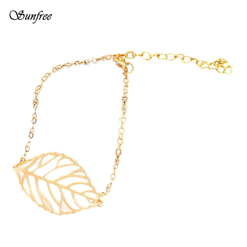 Sunfree 2016 Hot Sale Fashion Fashion Punk Metal Leaves Ankle Fashion Lady Gold leaf thin Anklet Oct 26