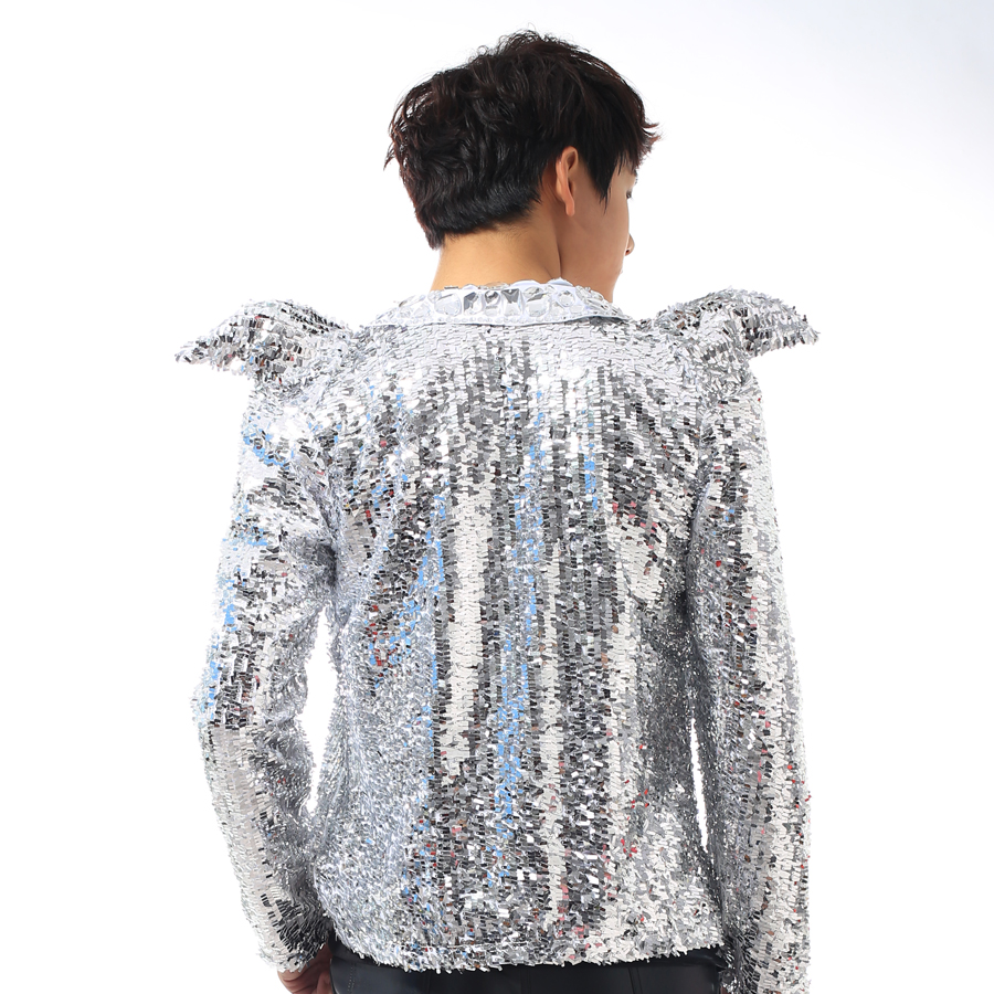 NEW ! Nightclub men's singer star stage costumes sequins jacket men's shrug suits coat Korean fashion suit singer clothing - 4