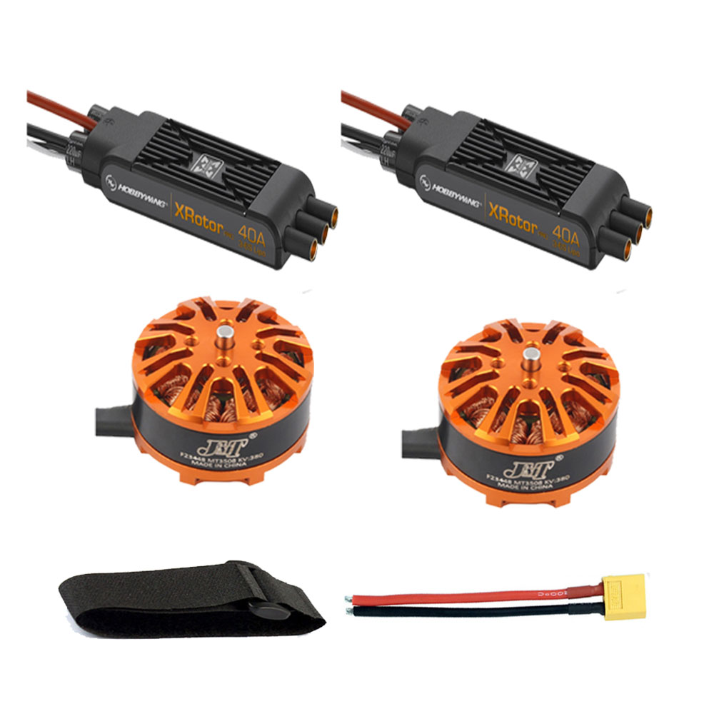 Multi-rotor DIY Drone Motor Combo 2pcs 3508 380kv Motor + 2pcs Hobbywing XRotor Pro 40A ESC + XT60 Connector+Fastening Tape diy 8 axis aircraft drone motor combo 8pcs 3508 380kv motor 8pcs hobbywing xrotor 40a esc xt60 connector fastening tape