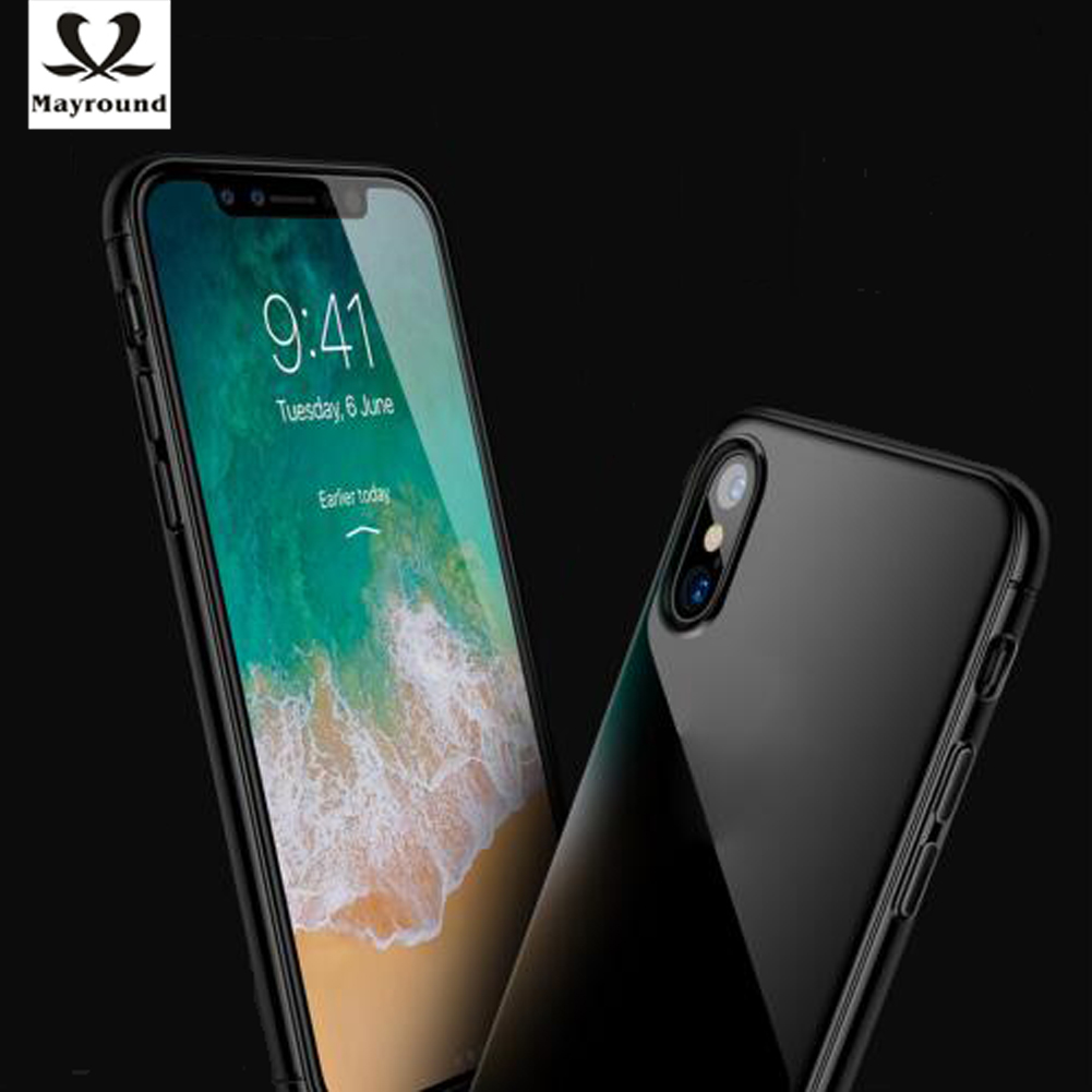 MAYROUND For iPhone X Case Soft Rubber Gell Protective Bright Jet Black Glossy Cover Anti-knock For iPhone 10 ten Fitted Cases