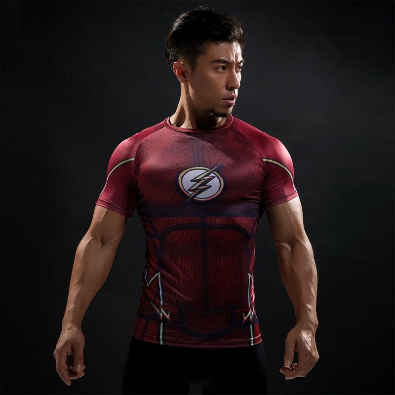 Camiseta de compresión Flash 3D impreso camisetas hombres Raglan manga corta Flash Cosplay disfraz secado rápido Fitness ropa Tops hombre