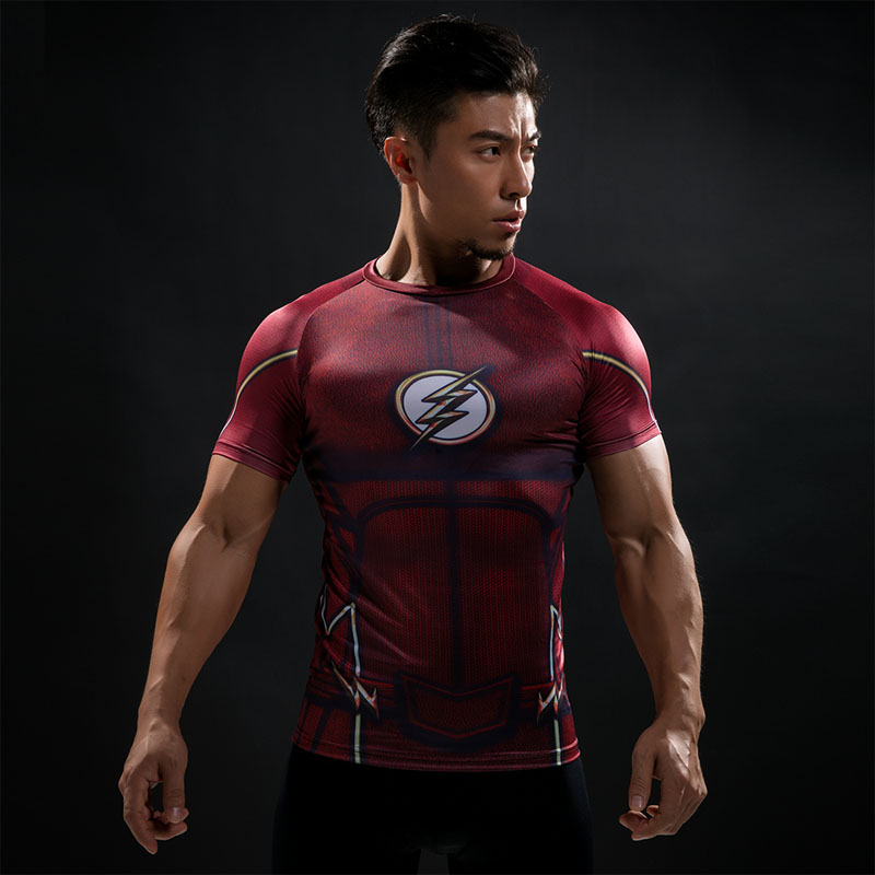Compression Shirt Flash 3D Printed T-shirts Men Raglan Short Sleeve Flash Cosplay Costume Quick Dry Fitness Clothing Tops Male