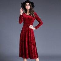 COSY Women Autumn Vestidos Vintage Velvet Casual Loose Midi Lady Elegant Wine Red Sexy Party Dress