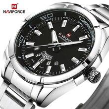NAVIFORCE relojes deportivos informales para hombre, reloj de pulsera Masculino, con fecha, de cuarzo, de acero completo