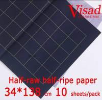 Blauw Chiese xuan papier  VISAD 34*138 cm rijstpapier Halve ruwe halve rijp papier schilderen papier
