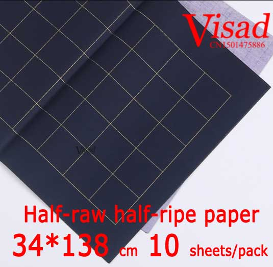 ФОТО blue Chiese xuan paper,VISAD 34*138cm rice paper Half-raw half-ripe paper painting paper