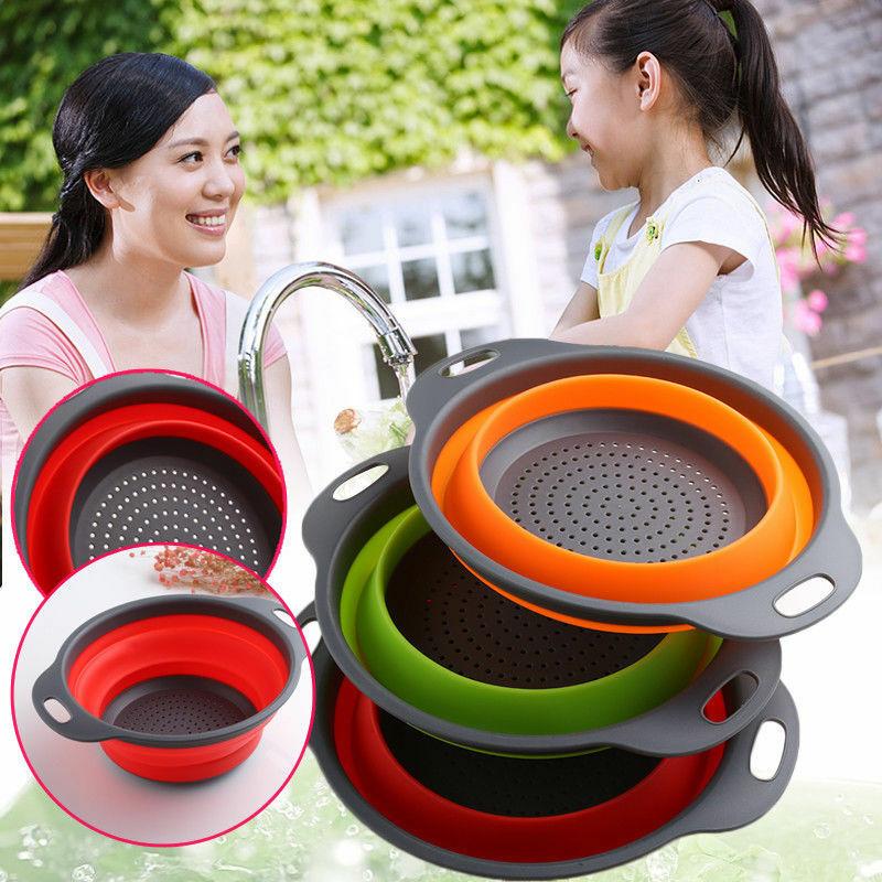 New Design Kitchen Home Drain Basket Collapsible Silicone Colander Strainer Foldable Fruit Vegetable Washing Basin 3 Colors