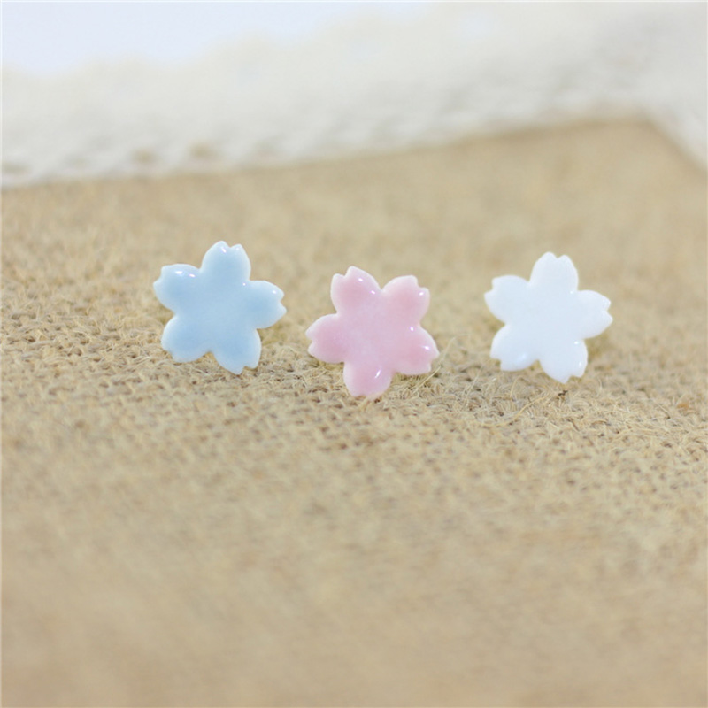 12 Pairs/Lot Double Flower Earrings Ceramic Light Blue Pink White Color Earring Ethnic Crafts Stud Earring For Women Men Jewelry