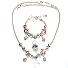 6 Colors Rose Necklace Bracelet Set Fine Silver Bead Hollow Chain Beaded Bracelet With Hook DIY Making Pendant Jewelry(China)