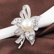 Элегантный Гламурная Большой Имитация Перла Rhinestone Цветок Посеребренные Броши для Женщин Брошь Пен Ювелирные Изделия