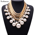 XG063 Fashion Necklace For Women 2015 Vintage Collar Gold Multi-layer Chain Long Luxury Pearl Necklaces & Pendants bijoux