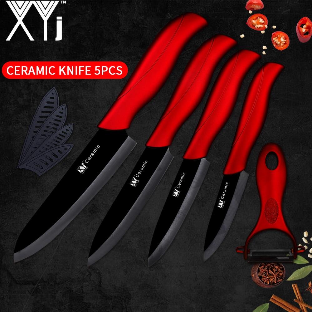 XYj Black Blade Ceramic Kitchen Knives Sets 3 4 5 6 Inch Paring Utility Slicing Chef