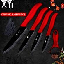 XYj черное керамическое лезвие набор кухонных ножей 3 4 5 6 дюймов очистка нарезка шеф-повар Ножи + Керамическая овощечистка волна ручные ножи