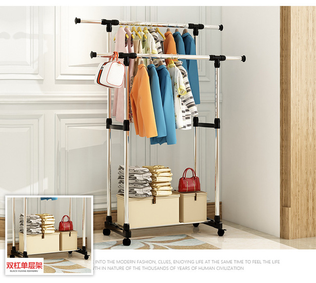 FREE Shipping Stainless Steel Multi Function Wardrobe Storage Closet Racks The Pulley Can Be Moved