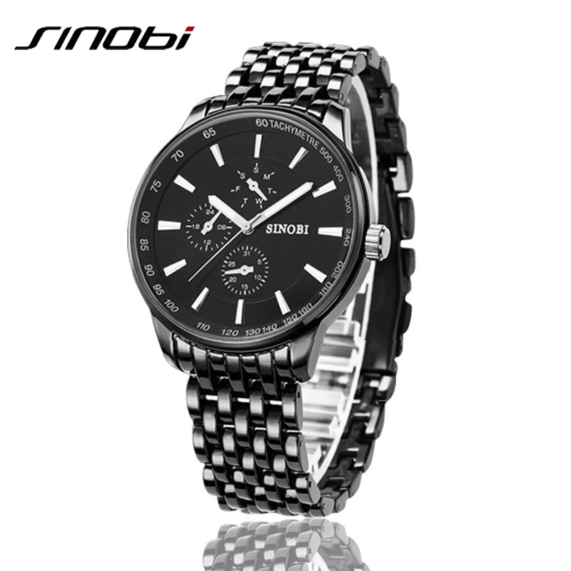 New Sinobi Dress Quartz Business Sports Watches Men Military Full Steel Casual WristWatch Waterproof Relojes hombre sinobi original vogue new design wrist watches for men dress office waterproof men watch travel factory directly sale relojes