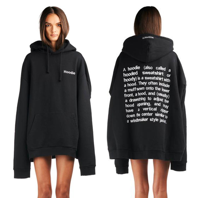 Autumn 2016 New Arrival Women Oversized Hoodie European Streetwear BF Harajuku Embroidery Letters Black Loose Hooded Sweatshirts