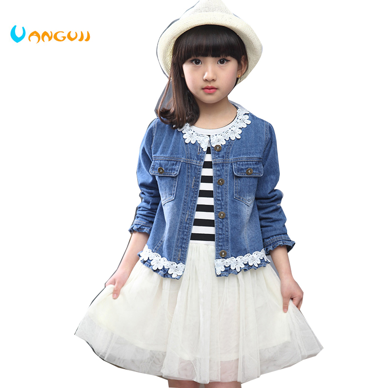 2016 new Korean girls spring suit for children in children's long sleeved denim jacket striped dress two piece fall new korean girls scout s striped