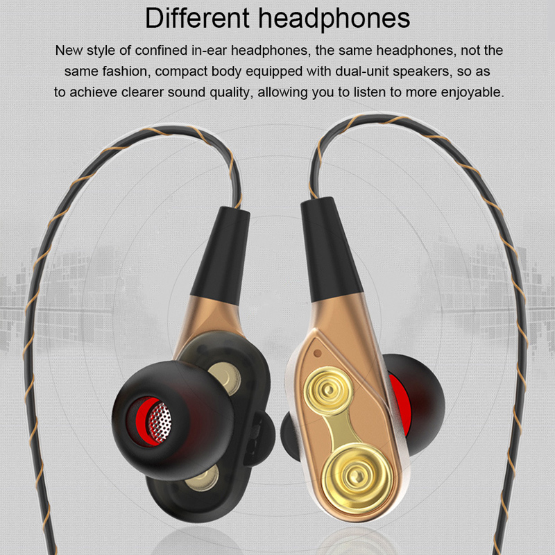 Double Unit Drive Di Telinga Earphone Bass Earphone untuk Ponsel Dj MP3 Sport Earphone Headset Earbud Auriculares