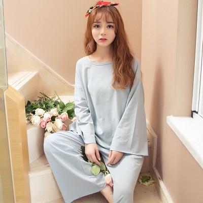 571450e097ddc Pigiama Donna Casual Women Pajama Sets Plus Size Girls Pyjamas Cotton Shirt  + Wide leg Pants