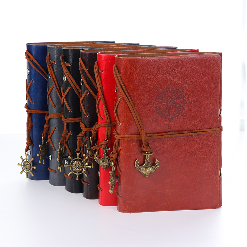 Spiral NoteBook Newest Diary Book Vintage Pirate Anchors PU leather Note Book Replaceable Xmas Gift Traveler Journal цена