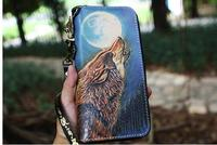 Free Shipping,fashion style Engraved wolf cowhide wallet,men's zipper purse,multi functional handbag.cool gift man Handmade