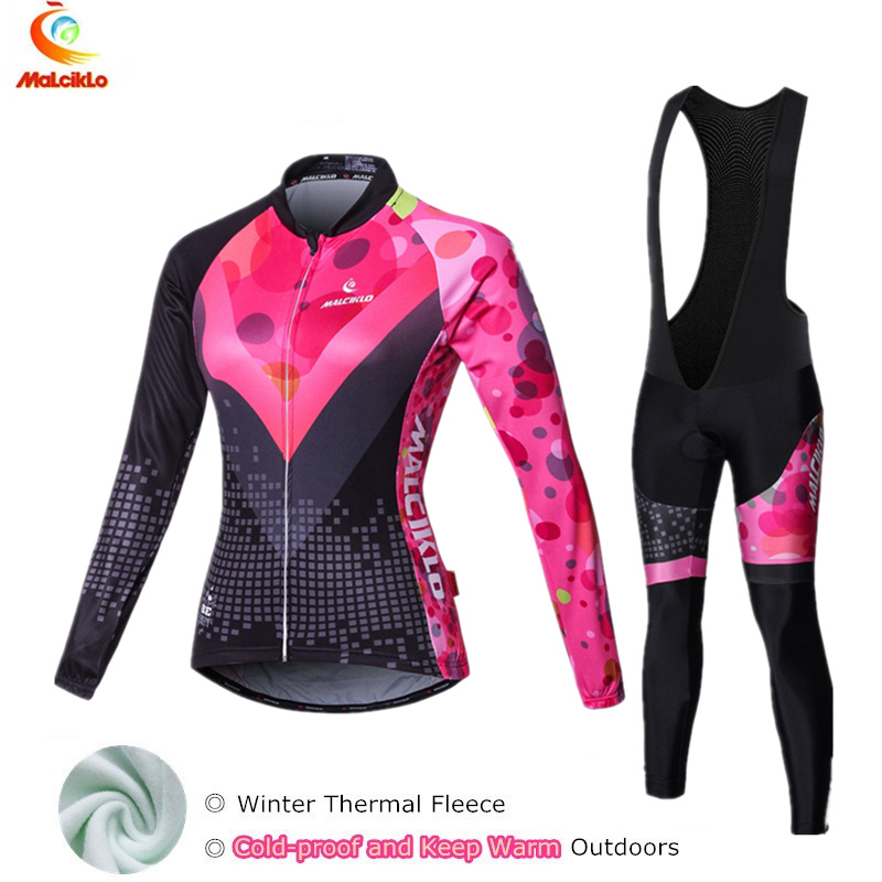 Abstract thermal fleece cycling jersey women long winter bike wear skinsuit cycling clothing sets ropa ciclismo mujer suit  gore bike wear women s xenon lady jersey