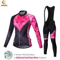 Abstraite thermique en laine polaire vélo jersey femmes long hiver bike wear skinsuit cyclisme vêtements ensembles ropa ciclismo mujer costume