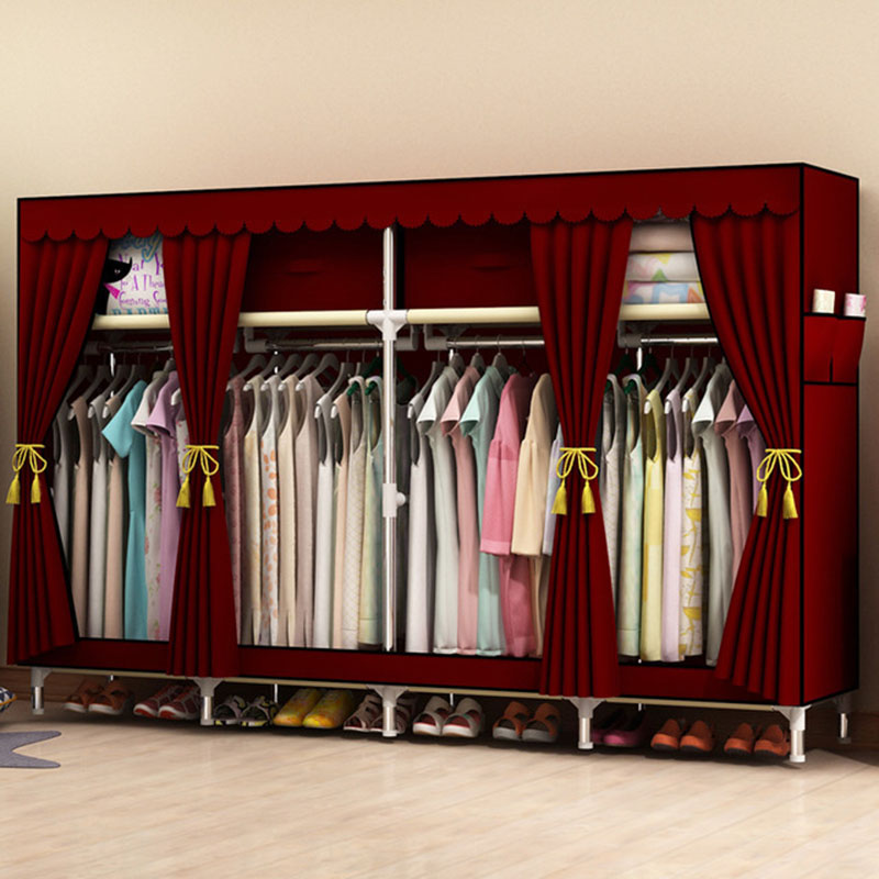 Actionclub 200*45*170cm Large Cloth For 2-3 People Clothes Wardrobe For Family Clothing Hanging Storage Cabinet Oxford Closet