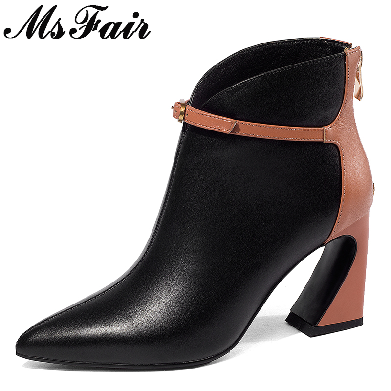 все цены на MsFair Pointed Toe Square heel Women Boots Genuine Leather Zipper Buckle Ankle Boots Women Shoes Elegant Black Boots Shoes Woman онлайн