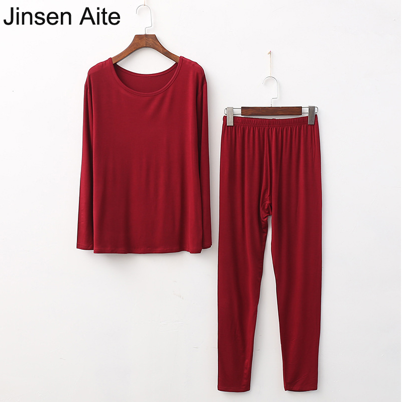 Jinsen Aite Plus Size XL-5XL New Modal Comfortable Long Johns Ladies Slim Underwears Sets Bottoming Thin Thermal Underwears JS39
