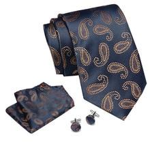 Mens Tie Gold Paisley 100% Silk Classic  Gravata Tie+Hanky+Cufflinks Set For Men Formal Wedding Party dropshipping