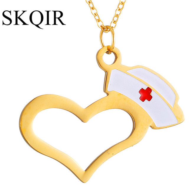Skqir hat and heart necklaces pendants for doctor nurse medical skqir hat and heart necklaces pendants for doctor nurse medical student gift rosesilver aloadofball Choice Image