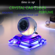 E-FOUR Car Clock Ornament Decoration Your Crystal Night Lighten Three Colors Lovely Gift Time Replica