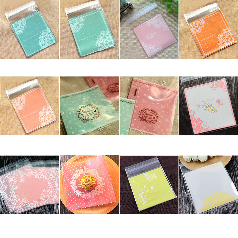 50/100p Cake Candy Bags Cute Plastic Transparent Cellophane Cookie Gift Bags For Biscuit Snack Baking Package Party Supplies 8z