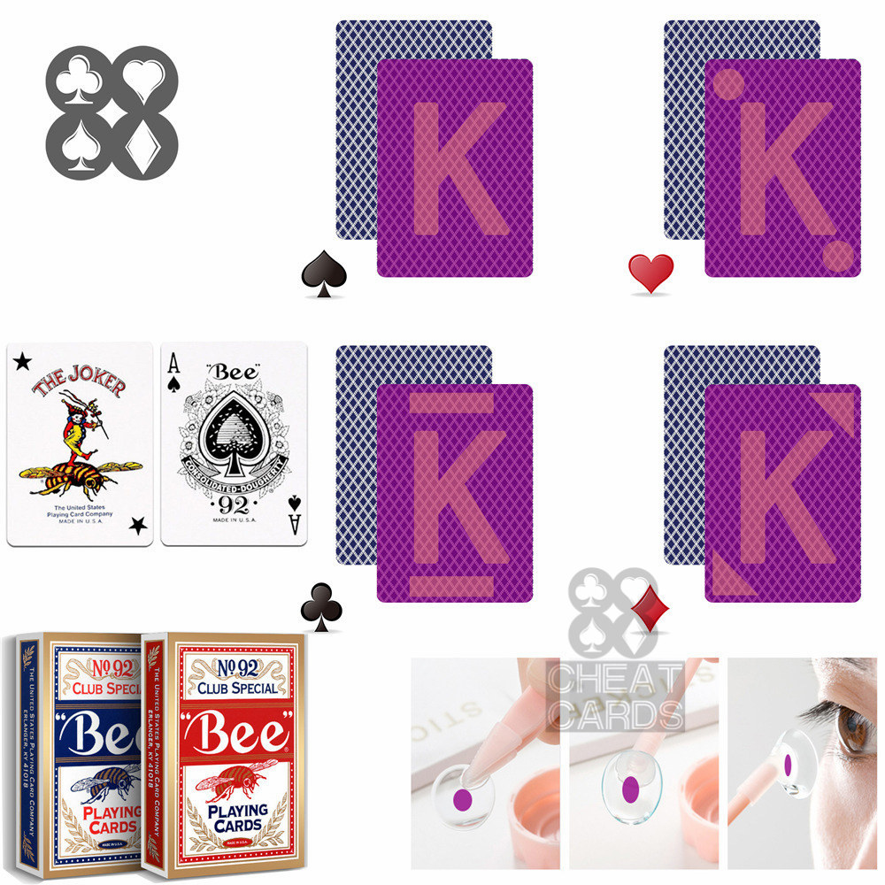 Bee NO.92 Paper Marked Playing Cards Magic Invisible Cards for UV Contact Lenses Cheat in Casino Gambling Anti Poker Cheat