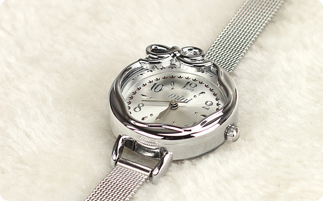 Free shipping hottest fashionable ladies analog quartz wristwatch stanless steel band korea band with butterfly