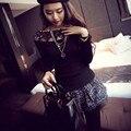 2016 de La Moda Elegante Suéter de Las Mujeres Crochet Lace Patchwork Punto de Manga Larga sudadera Suéter Primavera Verano Tapas Atractivas C165
