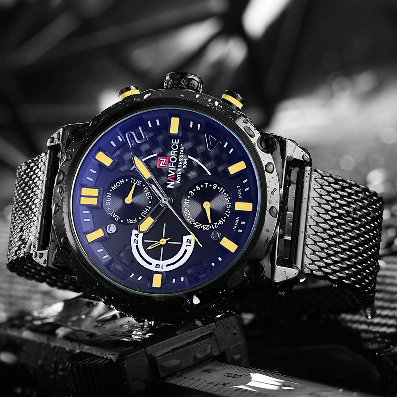 Naviforce Luxury Brand Men Stainless Steel Analog Watches Men's Quartz 24 Hours Date Clock Man Fashion Casual Sports Wirst Watch