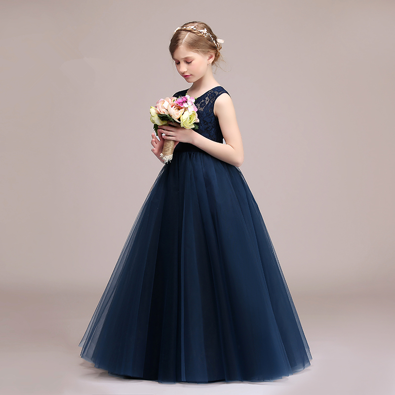 2017 New Flower Girls Dresses For Wedding Sleeveless Formal Girl Birthday Party Dress Lace Princess Ball