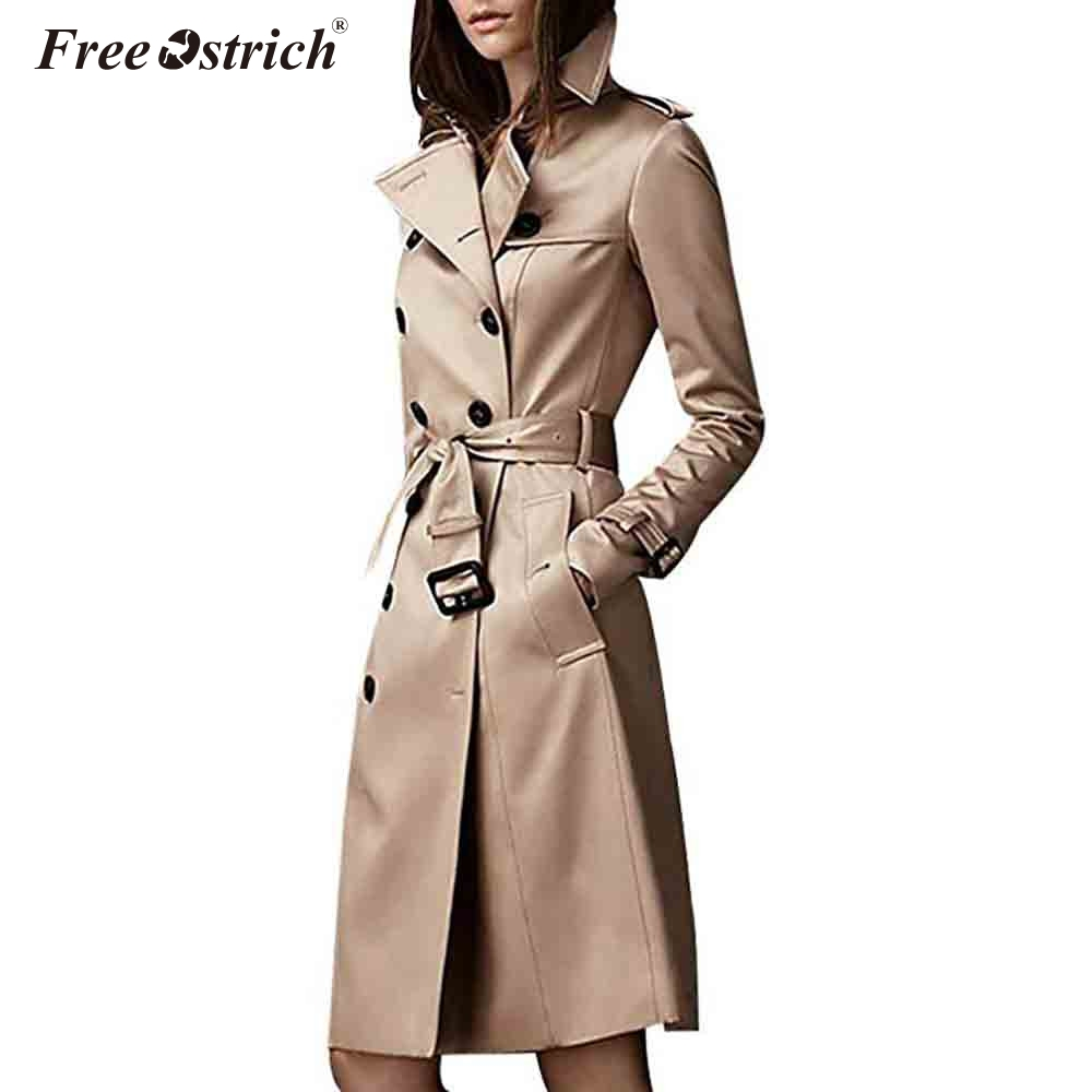Free Ostrich   Trench   Coat For Women Fashion 2018 Autumn Button Sashes Abrigo Mujer Long Coat Overcoat Women Mode Femme N30