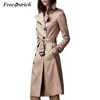 Free Ostrich Trench Coat For Women Fashion 2018 Autumn Button Sashes Abrigo Mujer Long Coat Overcoat Women Mode Femme N30