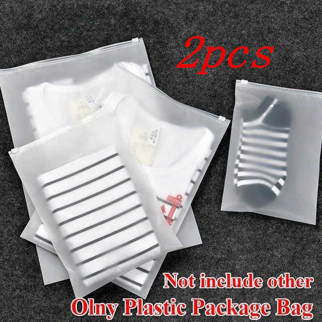 2pcs Portable Translucent Plastic Package Cloth Travel Storage Pouch Waterproof Bag Zip Suitcase Cloth Organizer