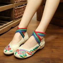 2016 China National Women's Flat Heel Shoes Ladies Old Peking Flower Embroidery Soft Sole Casual Dancing Shoes SMYXHX-AA0004