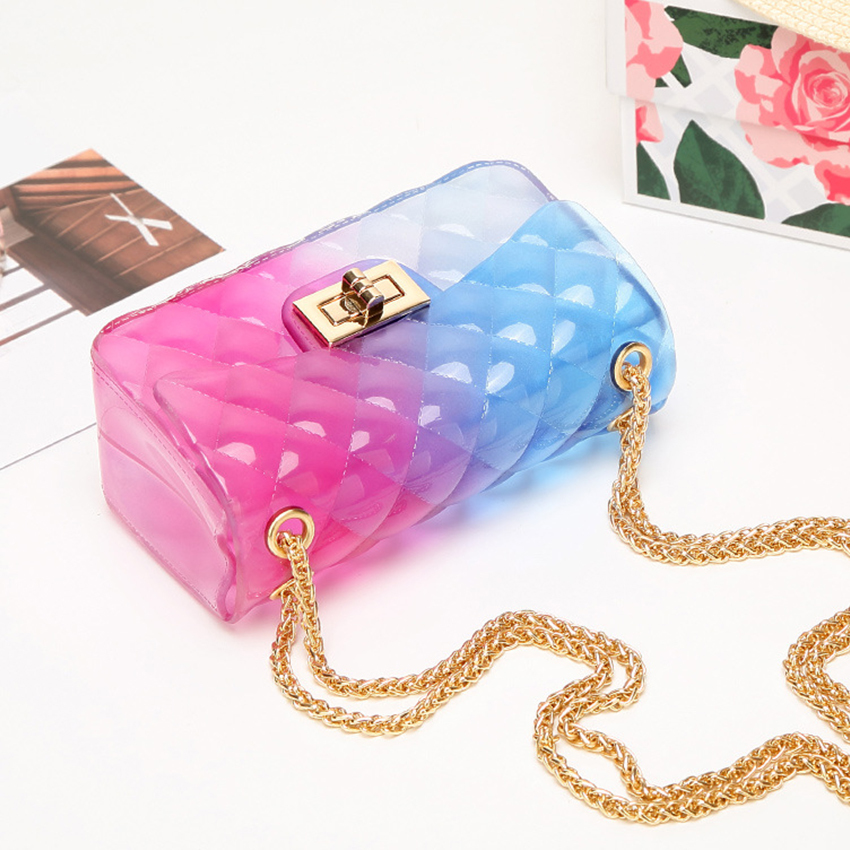 Clear Transparent PVC Lingge Chain Jelly Bag Women Candy Color Gradient Crossbody Mini Shoulder Bag Small Clutch Sac A Main 2019(China)