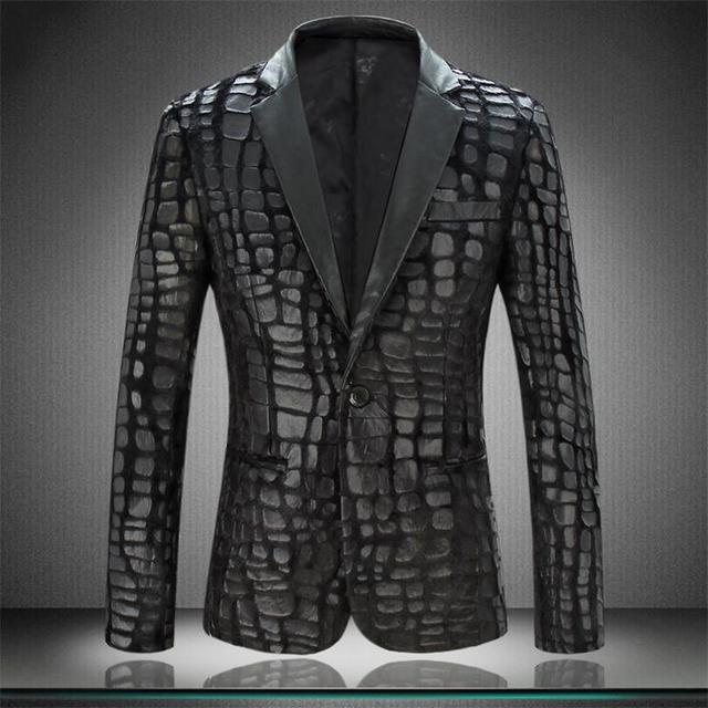 Men Blazer Jacket Large size New Brand Casual Faux Leather Spliced Velvet Suit Fashion Pieces Design Blazer