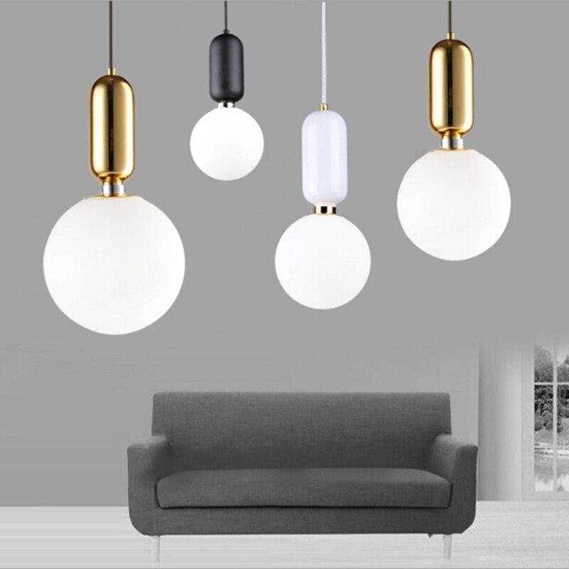 Diameter 15/20/25/30cm Modern Minimalist Pendant Lights White Glass Ball Pendant Lamps Restaurant kitchen Bar Lamp Dining Room цена и фото