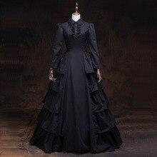 Черное готическое викторианское платье с длинными рукавами 18-го века, каскадные платья с рюшами в стиле ретро, вечерние платья для ночного клуба, одежда для театров