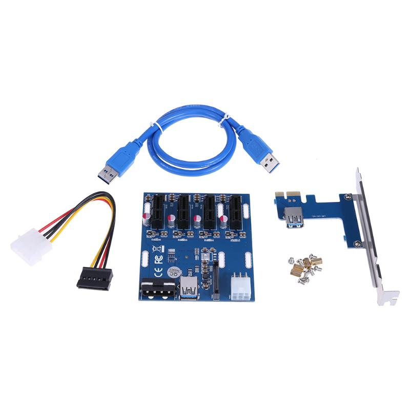 PCI-E to 4 PCI-E 1x Slot Adapter Extender Riser Card PCI-E Adapter Multiplier Mining Card Kit with 6Pin Power + SATA Port high quality pci e to usb 3 0 4 port express riser expansion card extender adapter for mining high speed extra power connector